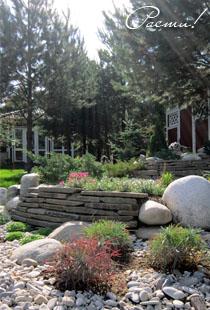 альпийский дизайн, ландшафтный камень, фото, заокские просторы